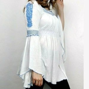 Free People Boho Flowy Embroidered Tunic